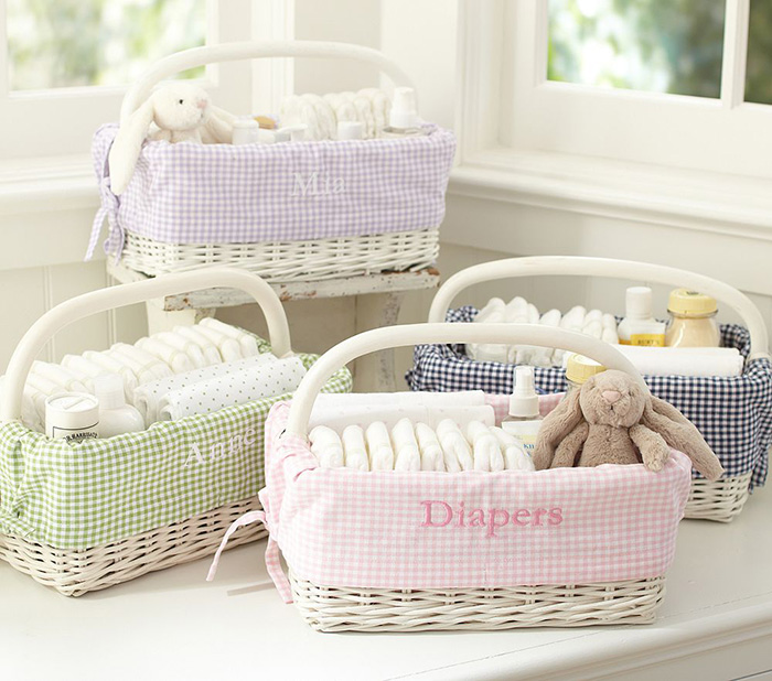Pottery Barn Baby Shower Part - 15: Pottery Barn Kids Sabrina Diaper Caddy Gingham Liners 12 Mini
