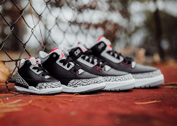 "Air Jordan 3 ""Black/Cement"" Releasing In A Full Family Size Run"