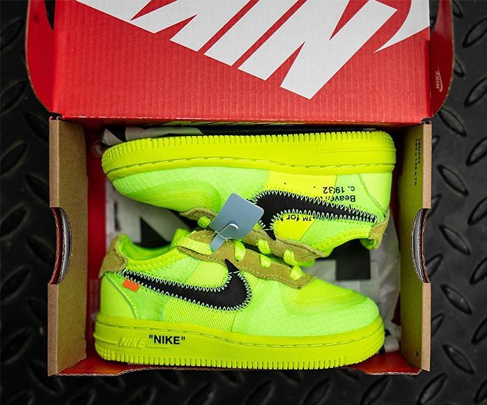 "The Off-White x Nike Air Force 1 ""Volt"" is Arriving in Toddler Sizing"